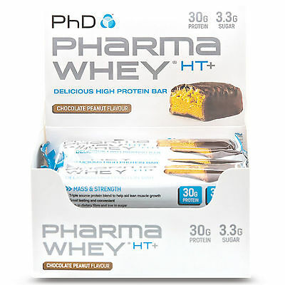 PhD Nutrition Pharma Whey HT+ Bars (12 X 75g) High 30g Protein Blend Bar Box