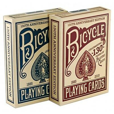 2 Decks Bicycle 130th Anniversary Standard Poker Playing Cards Red & Blue New