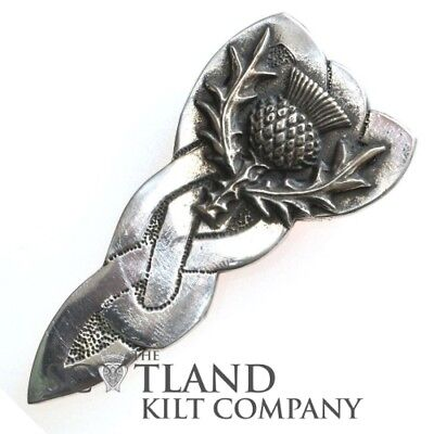 Scottish Made Pewter Highland Thistle Kilt Pin in Presentation Box for Tartan