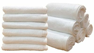 24 Plain White Large Hand Towels - Hotel Product - 100% Cotton - 400Gsm