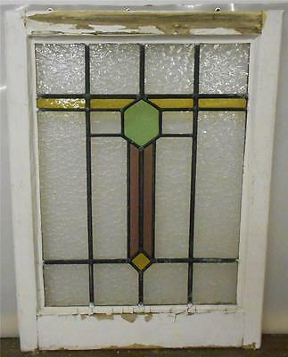 "OLD ENGLISH LEADED STAINED GLASS WINDOW Abstract Band 21.25"" x 28"""