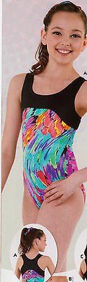 NWT Axis Gymnastic Dance Leotard Multi Color Racer Back Girls Intermediate 6X-7