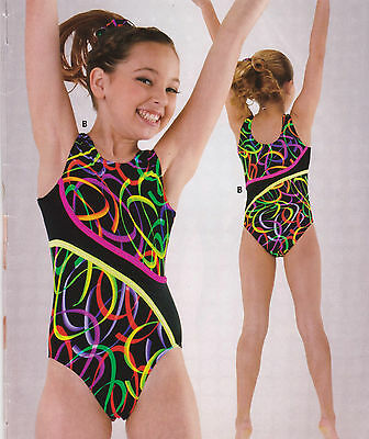 NWT Axis Gymnastic Dance Leotard Black/Fluorescent Multi Color Girls Small 75184