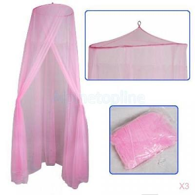 3pcs NEW BABY TODDLER BED CRIB TENT CANOPY MOSQUITO NET PINK