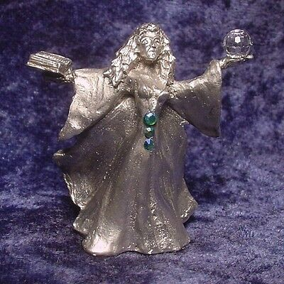 Pewter SORCERESS with Book of Spells & Crystal Ball