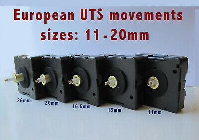 UTS QUARTZ CLOCK MOVEMENT MECHANISM, GERMAN QUALITY, 11mm - 26mm, 5 SIZES