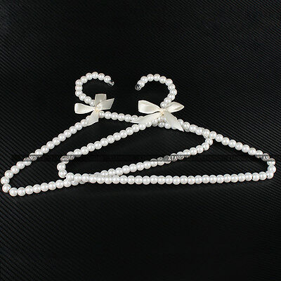 1-10pcs White Plastic Pearl Beaded Bow Clothes Hangers For Kid Children 30cm