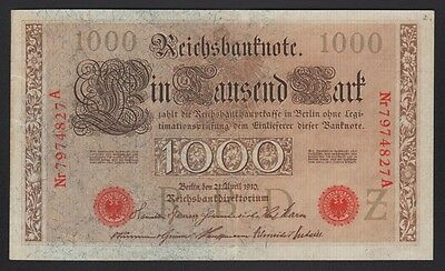 Germany Imperial 1910 1000 Mark P 44 b Red Serial and Seal 7 digit