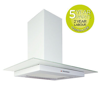MyAppliances REF11414 90cm Flat Glass Chimney Cooker Hood Extractor in White