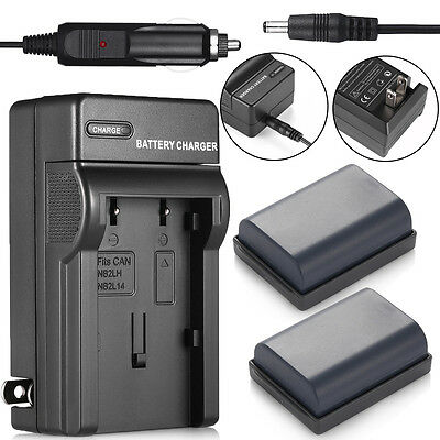2 x NB-2LH NB-2L NB2LH Battery + Charger For Canon EOS 400D 350D Rebel XT XTi