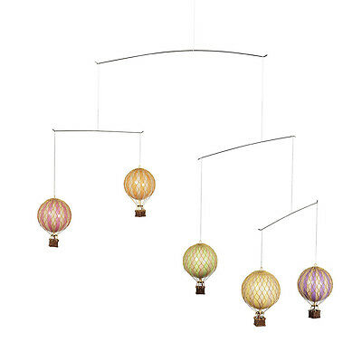 Hot Air Balloon Mobile Pastel Colors Hanging Aviation Nursery Decor