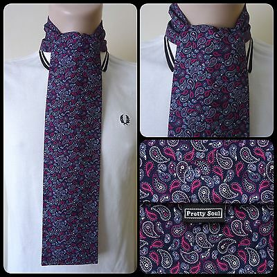 PRETTY SOUL NAVY SMALL PAISLEY HANDMADE COTTON MOD SCARF SCOOTER 60s RETRO