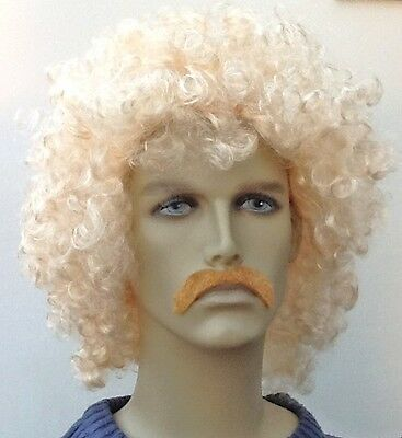 Blonde Curly Men's Fancy Dress Wig and Dark Blonde Droop Moustache Set,