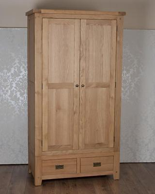 Chunky Solid Oak Harrogate Natural 2 Door 2 Drawer Wardrobe, Free Delivery!