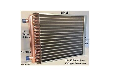 """15x15  Water to Air Heat Exchanger 1"""" Copper Ports With Install Kit"""