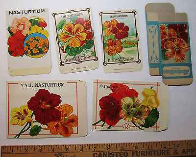 SUPER Lot of 6 - Burt's NASTURTIUM Seed Packet Envelopes 6 x 4 1/4 etc Litho