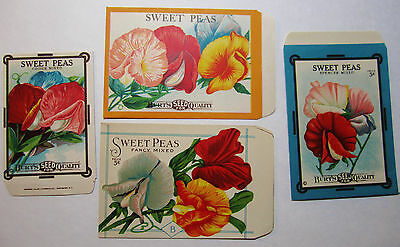 SUPER Lot of 4 - Burt's SWEET PEA Seed Packet Envelopes 5 3/4 x 3 3/4 etc Litho