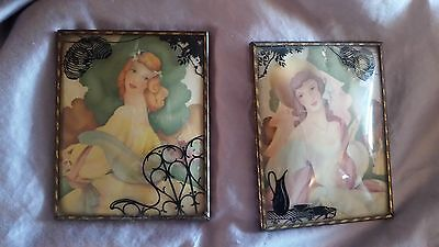 SET OF ANTIQUE VINTAGE  PICTURE'S CURVED BUBBLE GLASS - VICTORIAN WOMEN