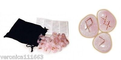 Rose Quartz Viking Runes 25 Stones and Bag NEW Instructions Divination Intuition