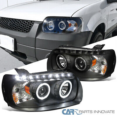 05 07 Ford Escape Dual Halo Projector Headlights Pair Black Clear W