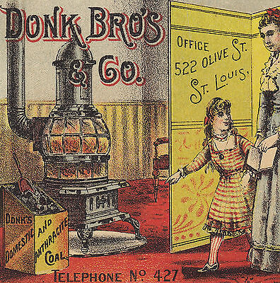 Donk Brother's & Co Coal 522 Olive St St Louis Coal Stove Advertising Trade Card