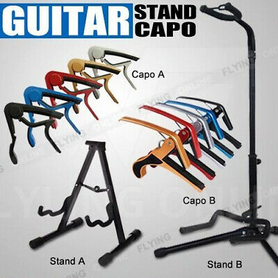 Folding Guitar Stand for Electric Acoustic Bass Guitar Capo Quick Release Clamp