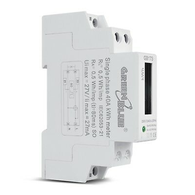 Power Consumption Meter Usage Meter Energy Monitor DIN Rail kWh LCD GB103 PlugIN