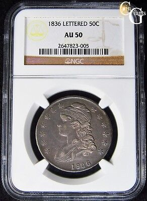 1836 Capped Bust Half Dollar O-114 R.2 NGC AU50 About UNC Lettered Edge Variety!