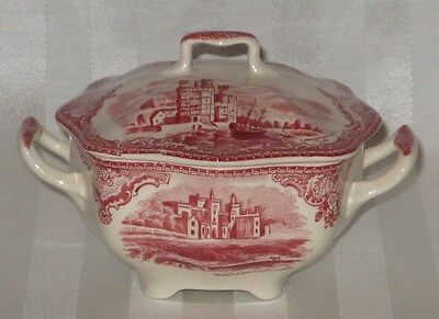 Johnson Brothers Bros. Old Britain Castles Pink ENGLAND Covered Sugar Bowl