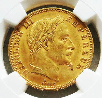 1866 Bb Gold France 50 Francs Napoleon Iii Ngc About Uncirculated 58