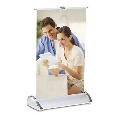 Mini Tabletop Retractable Tradeshow Display Banner Stand Letter Size A4 8.5x11