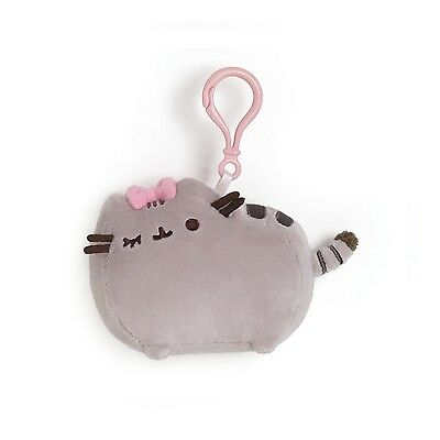 Gund 4048879 Pusheen the Grey Cat Backpack Key Clip Bow