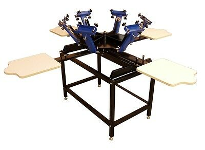 NEW- 6 Color, 4 Station Screen Printing Press w/Stand  27001