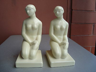 """Rookwood Production Ivory 7"""" Art Deco Nude Bookends 1930"""