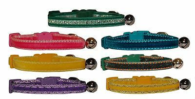 Luxurious pink purple yellow green turquoise  velvet cat kitten  safety collar