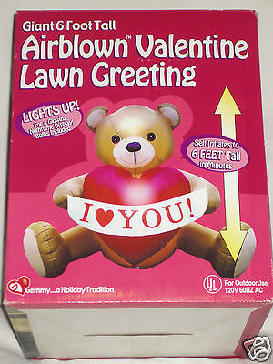 NEW Gemmy Valentines Day Lighted 6' Teddy Bear Airblown Inflatable Yard Blow-up