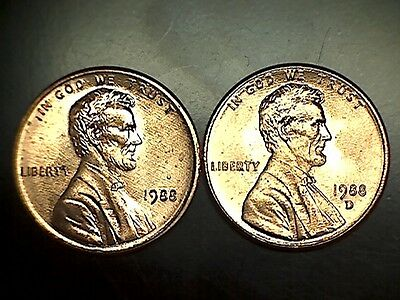 1988 PD Lincoln Memorial Cent Penny Set Brilliant Uncirculated From Rolls
