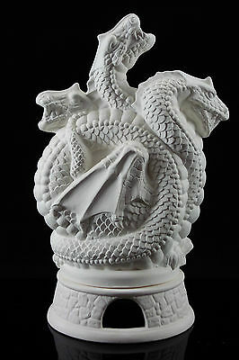 Ready to Paint Ceramic Bisque - 3 Dragons Smoker Dragon  24 cm Tall Ornament