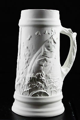 Ready to paint ceramic bisque - Collectible Tankard with Fish  22 cm tall