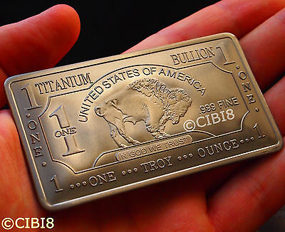 1 Oz TITANIUM BUFFALO BAR .999 PURITY FINE NEW TOP QUALITY HARD METAL RARE EDT.