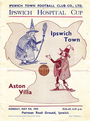 1938/39 Ipswich v Aston Villa (Hospital Cup - Ipswich First League Season)