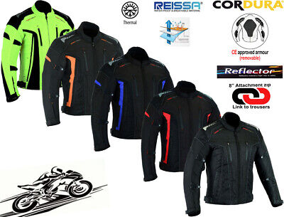 Night Viz Mens Black Ce Armour Quilt Lined Motorbike / Motorcycle Textile Jacket