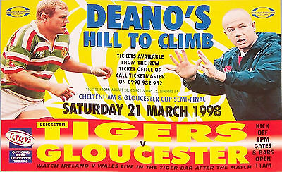 LEICESTER v GLOUCESTER RUGBY TEAM POSTER 1998 DEANO