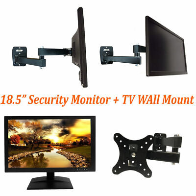 "[Monitor&Mount PKG] 18.5"" HD Surveillance Security Monitor BNC HDMI & Wall Mount"