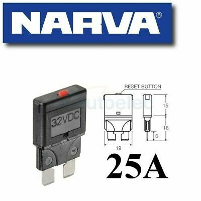 Narva 25A Circuit Breaker Replaces Standard Blade Fuse Battery 25 Amp 12V 55725