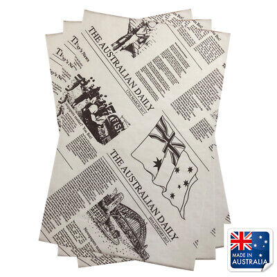 Greaseproof Paper Newsprint Style 190x310mm Pkt 200 Newspaper Fish Chips Burgers