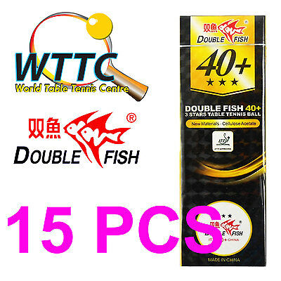 Double Fish 3 Star 40+ (5 Packs of 3) Table Tennis Balls (Total of 15Pcs) White