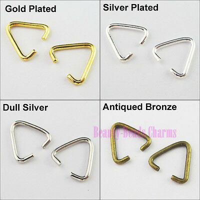 120Pcs Triangle Jump Rings Connectors Bails Gold Silver Bronze Plated 10.5x11mm