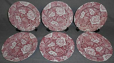 Set (6) Burgess & Leigh PINK VICTORIAN CHINTZ PATTERN Dessert or B&B Plates
