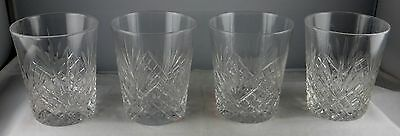 Group of Four ABP American Brilliant Cut Glass Small Tumblers - Strawberry & Fan